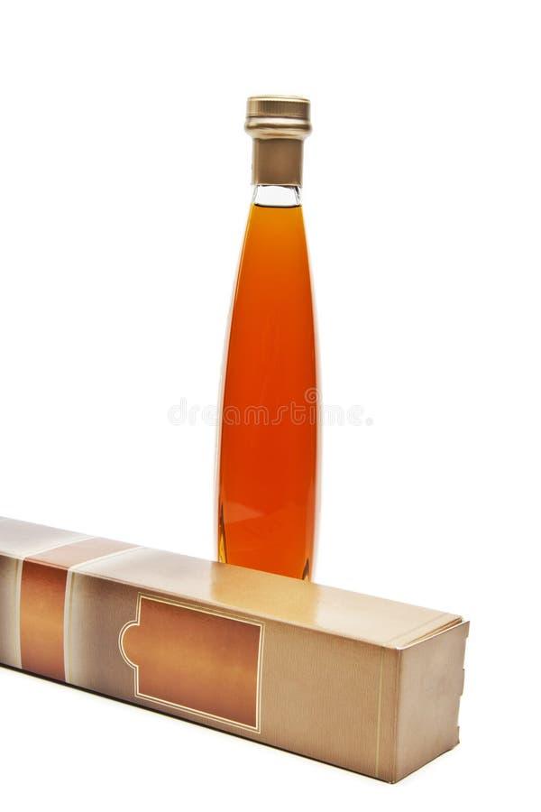 Coñac en botella sin etiquetas imagen de archivo libre de regalías
