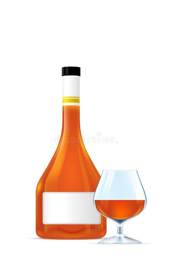 Coñac y cubilete hermosos de la élite de la botella stock de ilustración