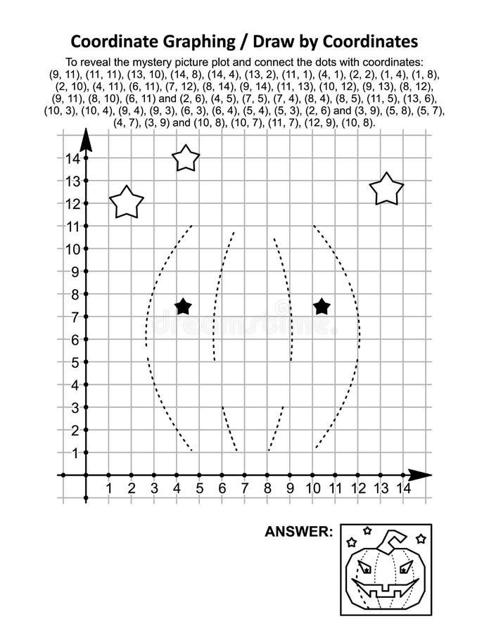 Coördinaat graven, of trekken door coördinaten, wiskunde aantekenvel met pompoen Halloween stock illustratie