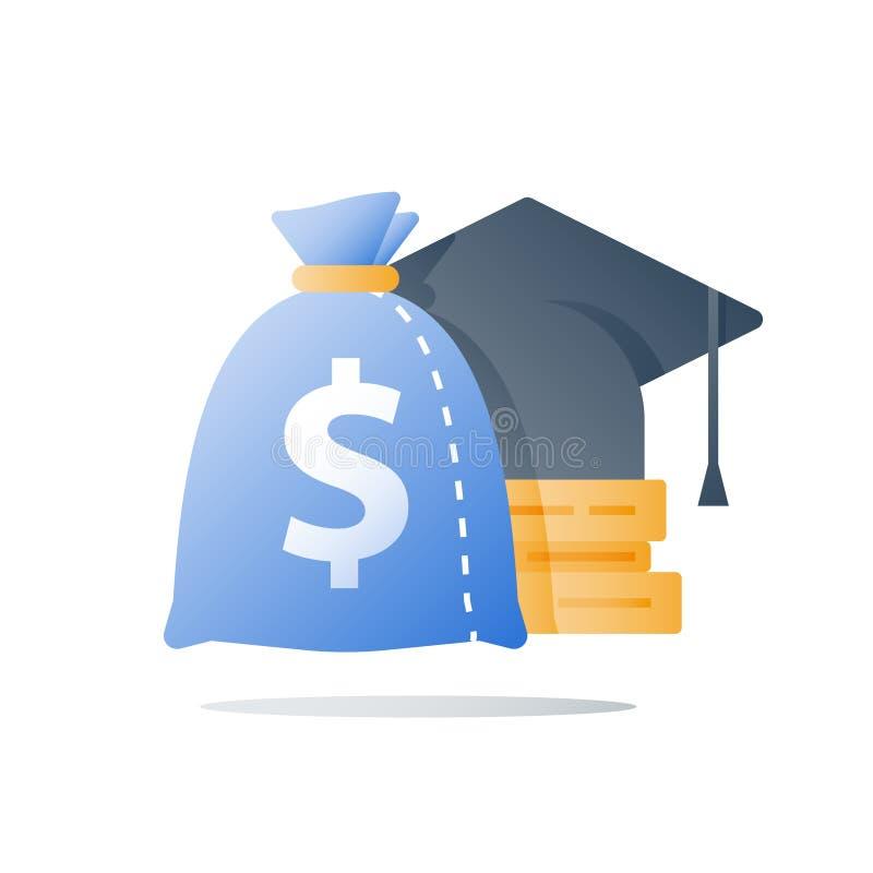 Coût d'éducation, dépenses d'instruction, paiement de bourse, prêt d'étude, concession financière, investissement de la connaissa illustration de vecteur