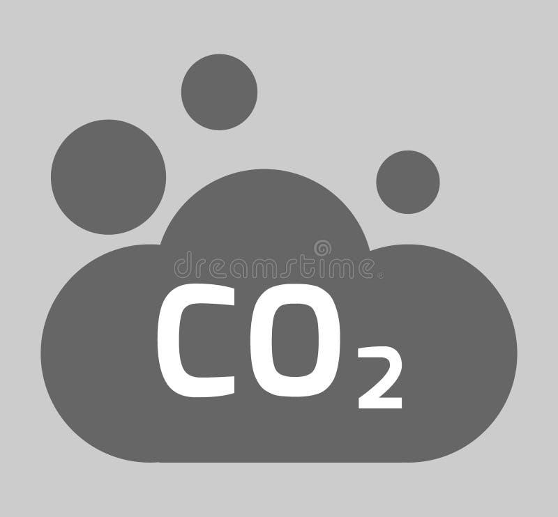 CO2, εικονίδιο διοξειδίου του άνθρακα το περιβάλλον έννοιας προσοχής ανασκόπησης απομόνωσε μικρό παίρνει το λευκό δέντρων επίπεδη ελεύθερη απεικόνιση δικαιώματος