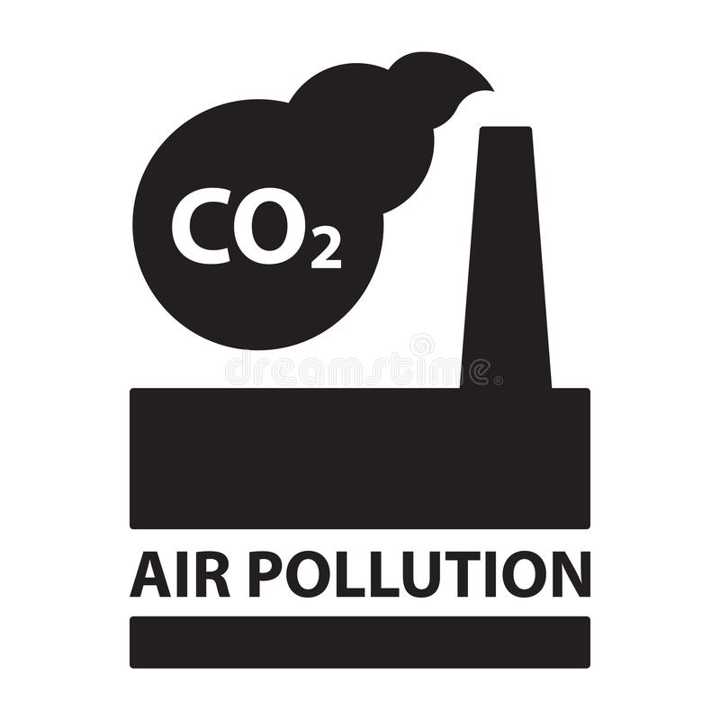 CO2 air pollution plant ecology concept isolated black silhouette stock illustration