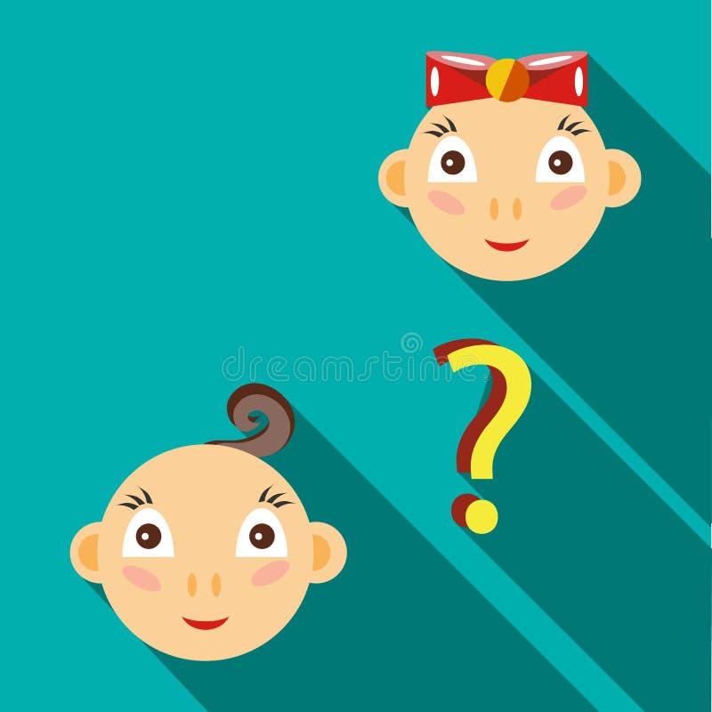 Co będzie urodzony, chłopiec lub dziewczyny ikona, mieszkanie styl ilustracja wektor