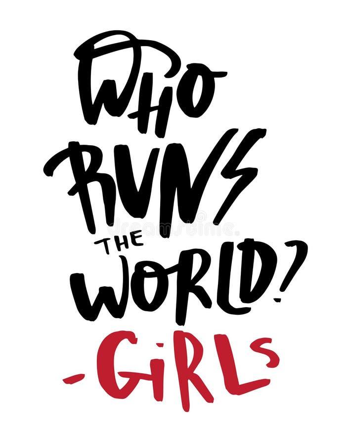 Co biega światową cedułę o dziewczynach Nowożytnego literowania inspiracyjna wycena royalty ilustracja