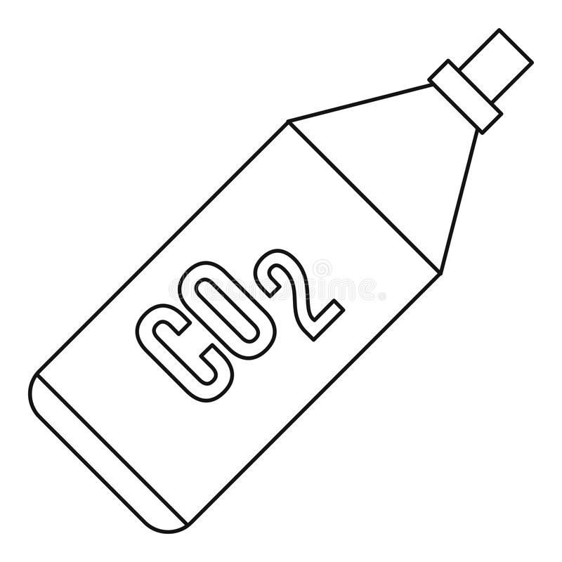 CO2 bottle icon, outline style. CO2 bottle icon in outline style on a white background illustration stock images