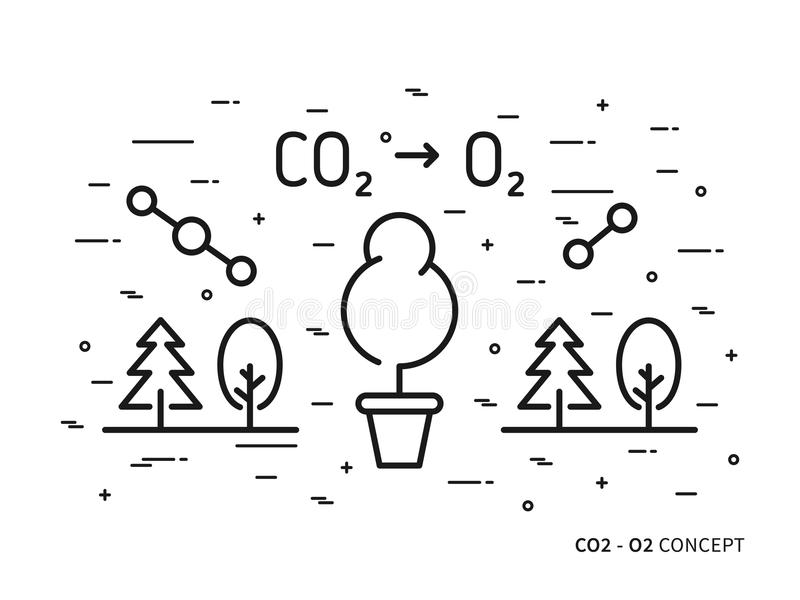 CO2 carbon dioxide to O2 oxygen linear vector illustration vector illustration