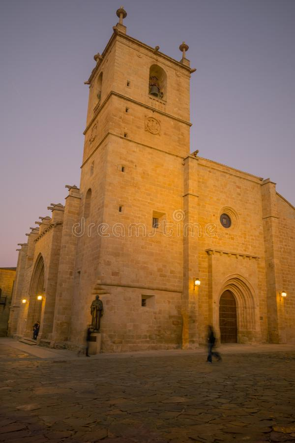 Co-Catedral DE Santa Maria, in Caceres stock afbeelding