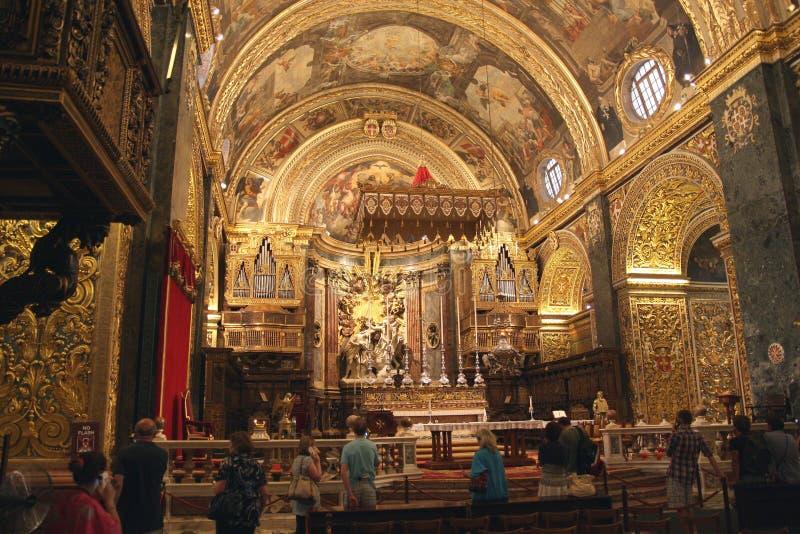 Co-cathédrale de St Johns à l'intérieur, La La Valette, Malte images stock