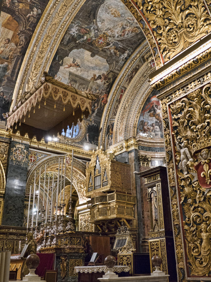 The Co Cathedral of St John in Malta. The main Church of the 365 churches of Malta is so ornately decorated that it is amazing stock photography
