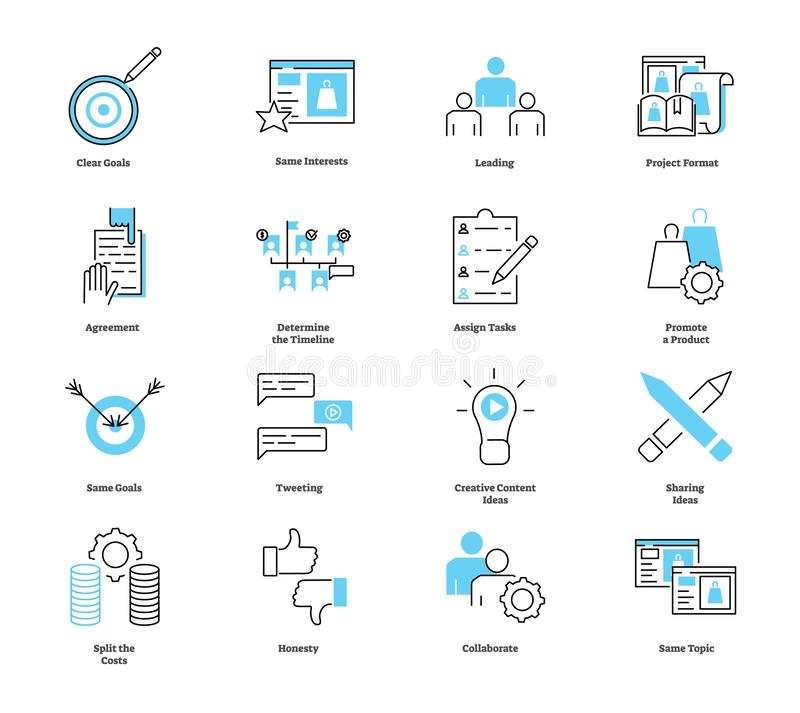 Co collaborate marketing icon collection. Vector illustration with symbols. Co collaborate marketing icon collection. Vector illustration with clear goals vector illustration
