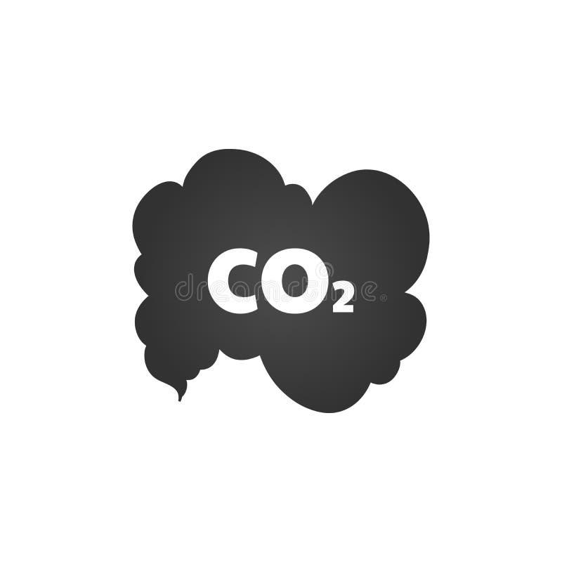 Co2-de wolk van het emissiespictogram de vectorvlakte, kooldioxide symbool, het concept van de smogverontreiniging uitzendt, rook royalty-vrije illustratie