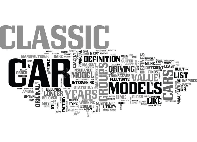 Co Definiuje Klasyczną Samochodową słowo chmurę ilustracji