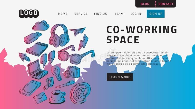 Co, die Coworking-Raum-Tischplattenlandungsseite für Netz-Website-Schablonen-Entwurfs-Beispiel Front End With Hand Drawn Arbeits  vektor abbildung