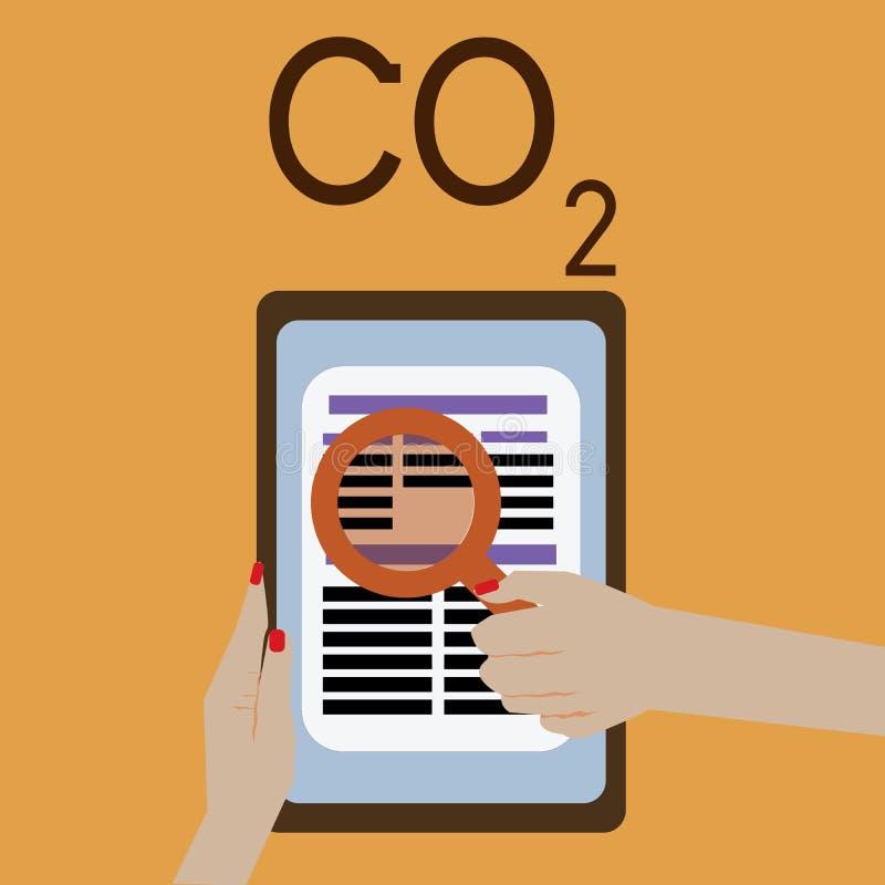 CO2 do texto da escrita da palavra Conceito do negócio para o gás de estufa Noncombustible que contribui ao aquecimento global ilustração do vetor