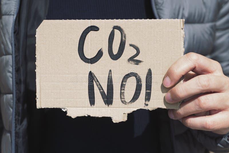 CO2 do texto não em um quadro indicador do cartão foto de stock royalty free