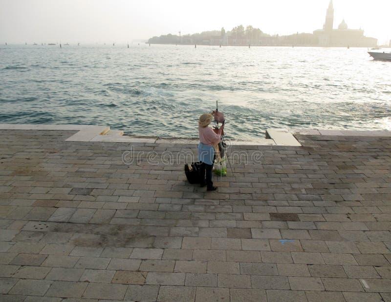 Co dwa lata Wenecja artysty 2017 obraz przed dennym Wenecja ItalynEurope zdjęcia royalty free