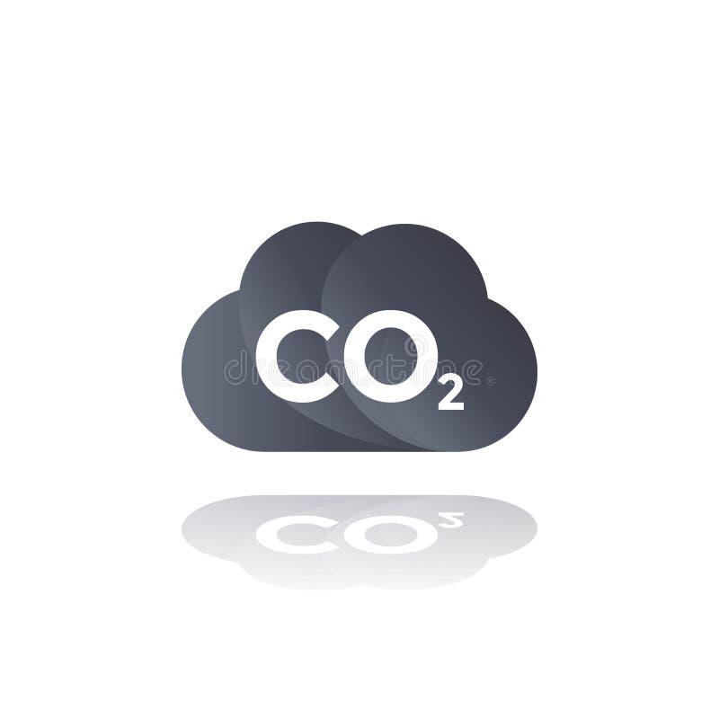 Co2-emissies, het pictogram van de kooldioxidewolk royalty-vrije illustratie