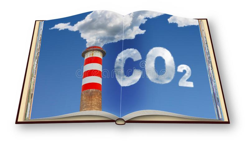 CO2 emission concept image - 3D render photo book. I`m the copyright owner of the images used in this 3D render.  royalty free stock images