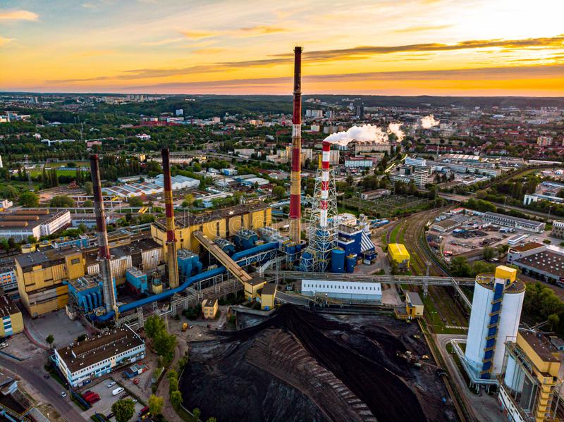 Co2 emission in Gdansk. Industry, energy, poison, air, evening, citylife, cityscape, poland, europe, smog, ecology, problem, sunset royalty free stock photo