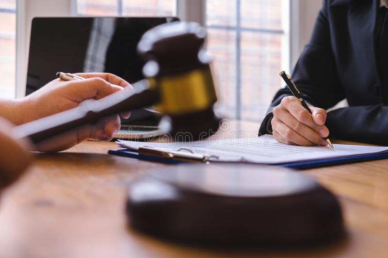 Co-investment business and lawyer or judge team signing contract agreement,. Concepts of law, advice, legal services royalty free stock photos