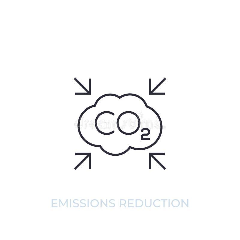 CO2, línea icono del vector de la reducción de emisiones de carbono libre illustration