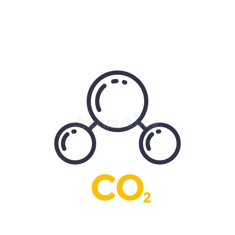 Co2 molecule line icon. Eps 10 file, easy to edit stock illustration