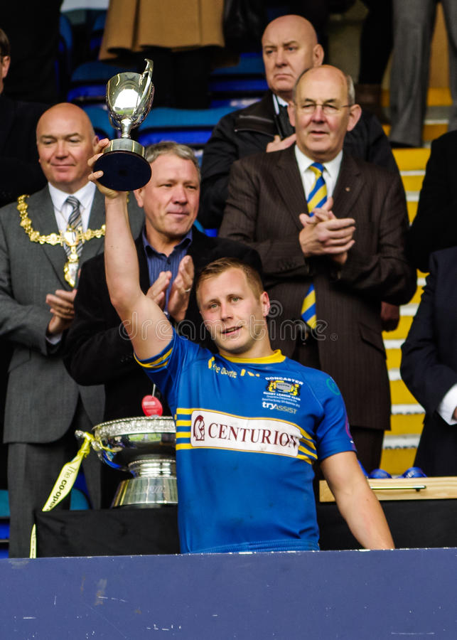 Co-Operative Championship 1 Final 2012. Craig Fawcett of Doncaster RLFC lifts the Man of the Match trophy in the Co-Operative Championship 1 Final 2012 stock photos