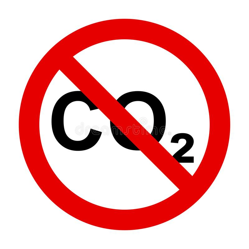 CO2  and prohibition sign. As vector illustration royalty free illustration