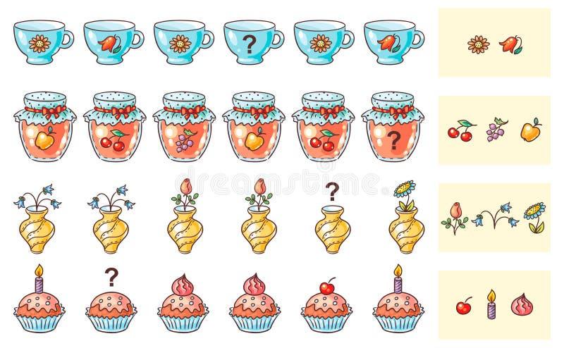 Co przychodzi następną dopasowywanie grę dla preschoolers royalty ilustracja