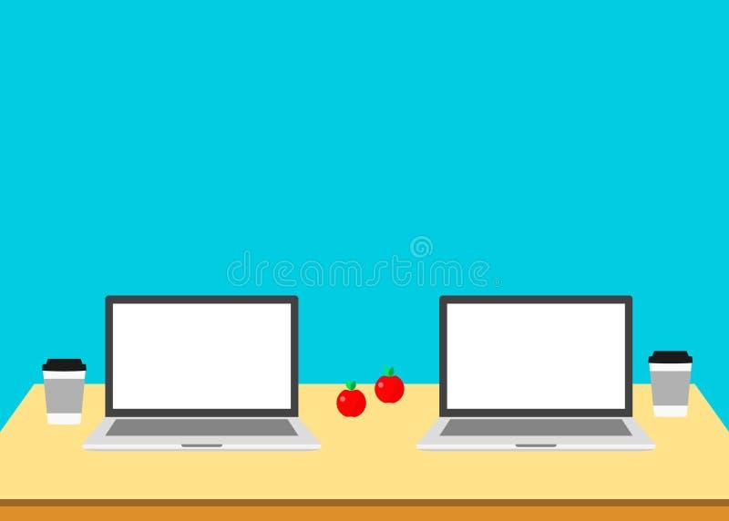 Co que trabaja 2 ordenadores portátiles en la tabla workplace stock de ilustración