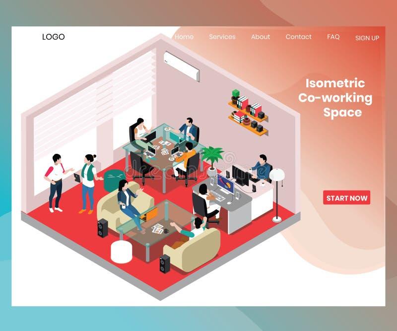 Co-werkende Ruimte voor Concept van het bedrijfsmensen het Isometrische Kunstwerk vector illustratie