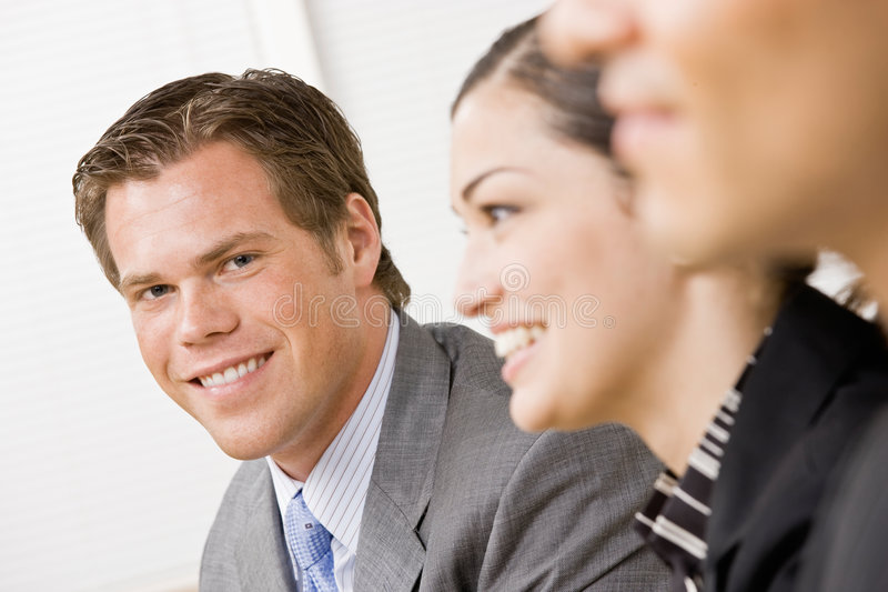Download Co-workers in meeting stock image. Image of focus, smile - 6601161