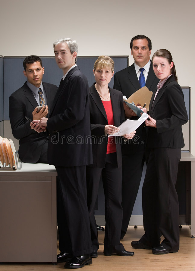 Co-workers meeting and working in cubicle