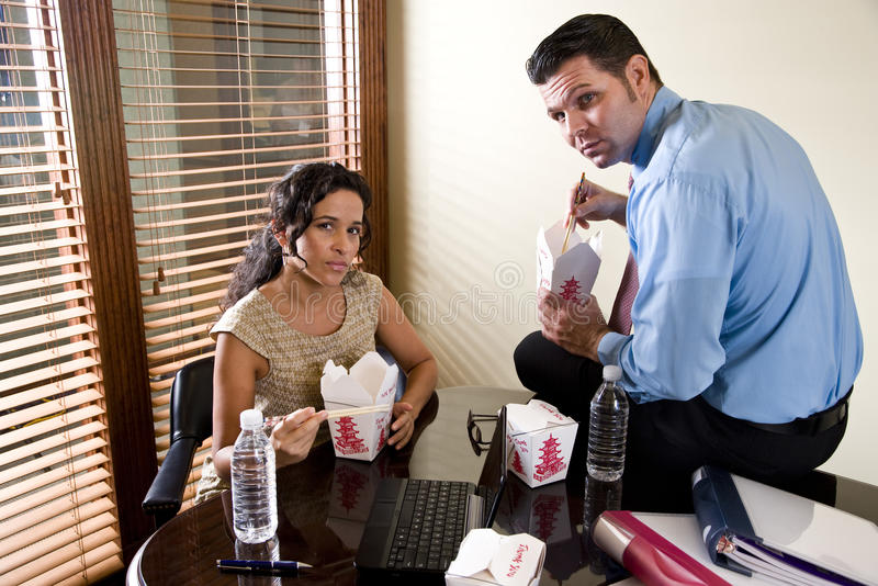 Download Co-workers In Office Eating Chinese Take-out Food Royalty Free Stock Images - Image: 11629219