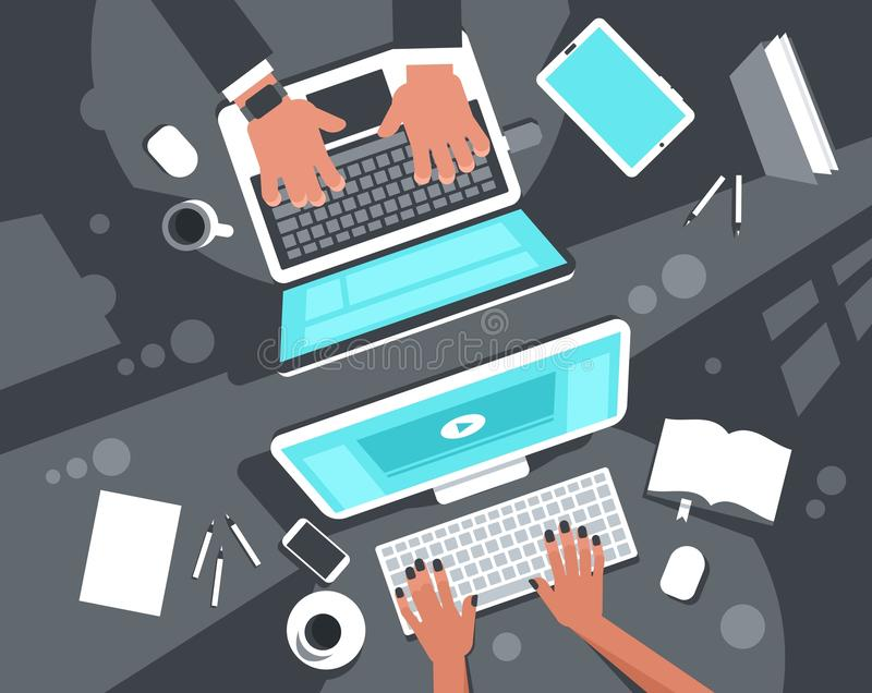Co-working concept top view stock illustration