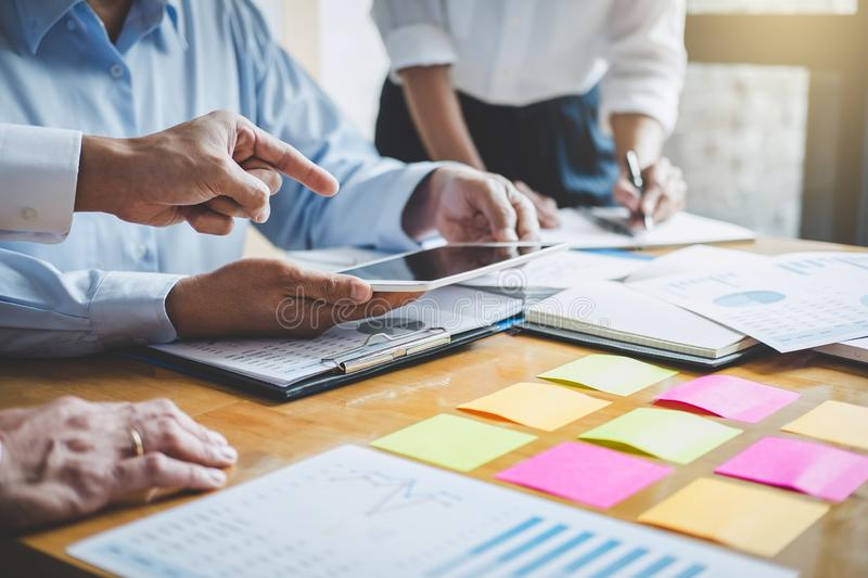 Co working conference, Business team colleagues discussing working analysis with financial data and marketing growth report graph stock photos