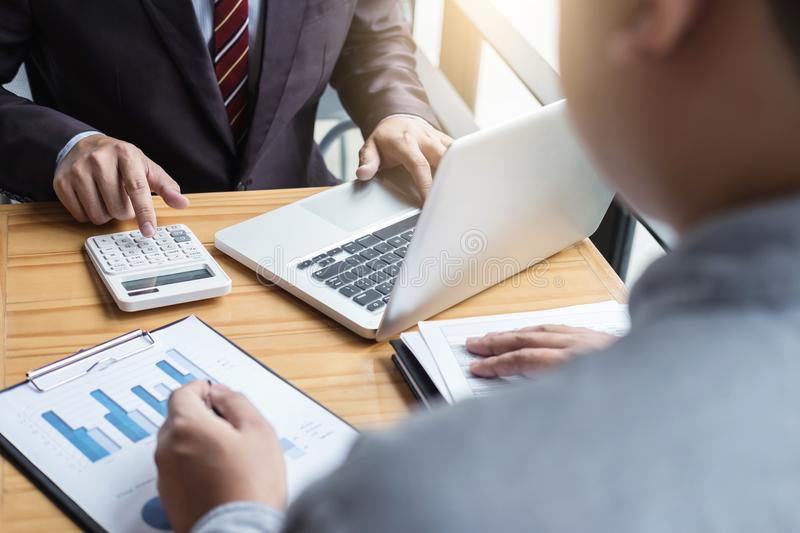 Co working conference, Business team meeting present, investor c stock image