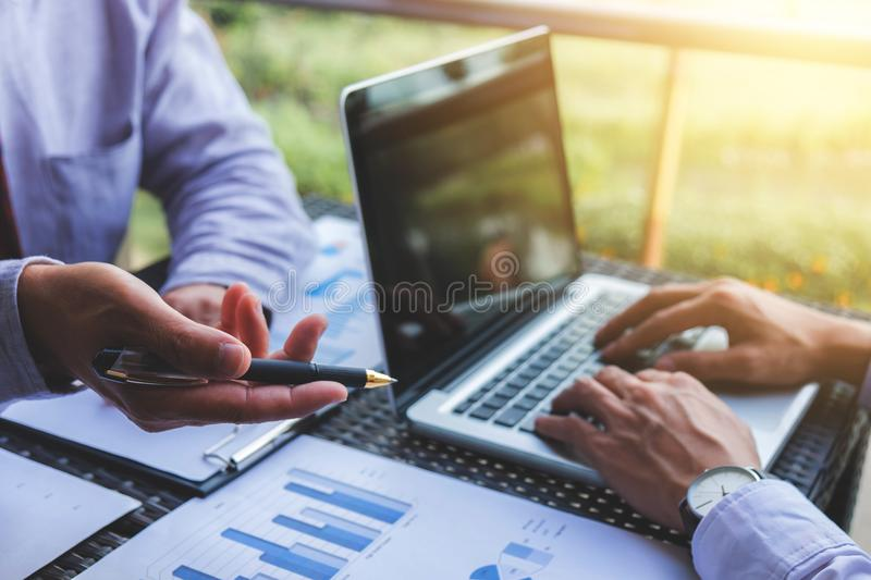 Co working conference, Business team meeting present, investor e royalty free stock image
