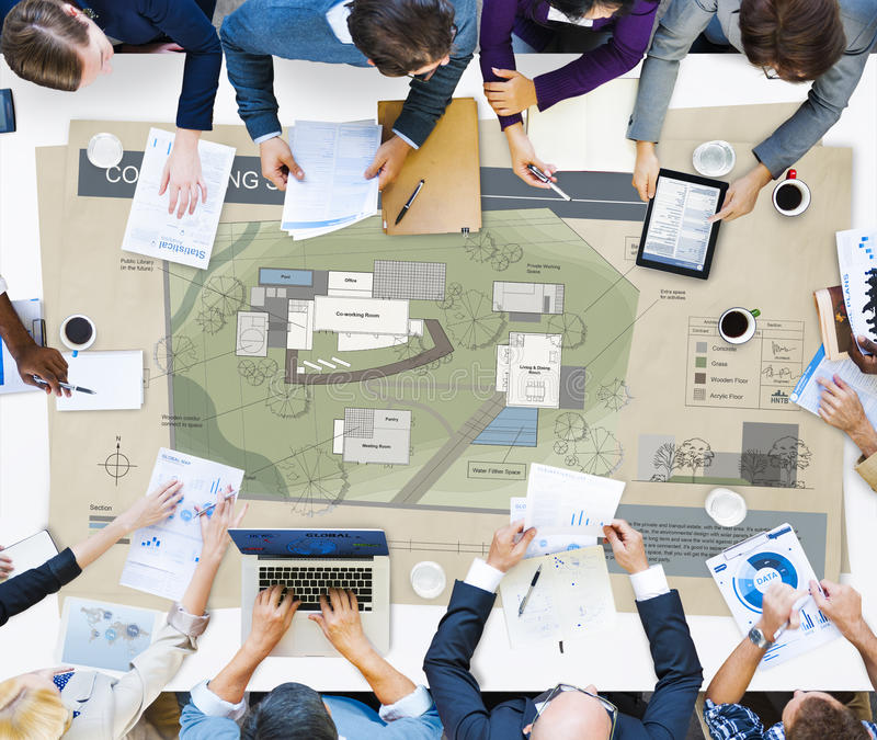 Co Working Space Architecture Plan Map Blueprint Design Concept.  stock photography