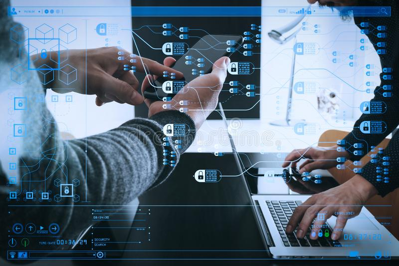 Co working team meeting concept,businessman using smart phone an. Blockchain technology concept with diagram of chain and encrypted blocks.co working team stock images