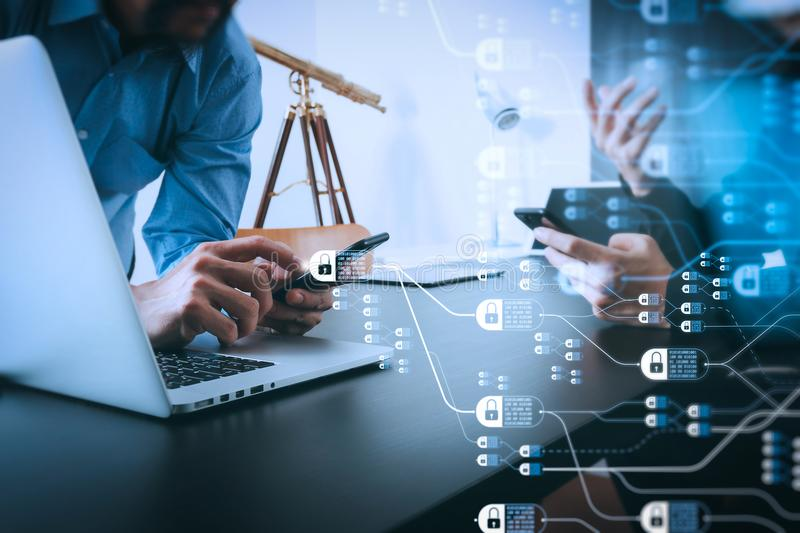 Co working team meeting concept,businessman using smart phone an. Blockchain technology concept with diagram of chain and encrypted blocks.co working team royalty free stock photography