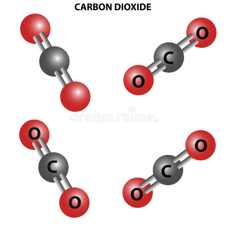 Free CO2 Carbon Dioxide Molecule. Chemical Structure.Four Views Royalty Free Stock Images - 89393259