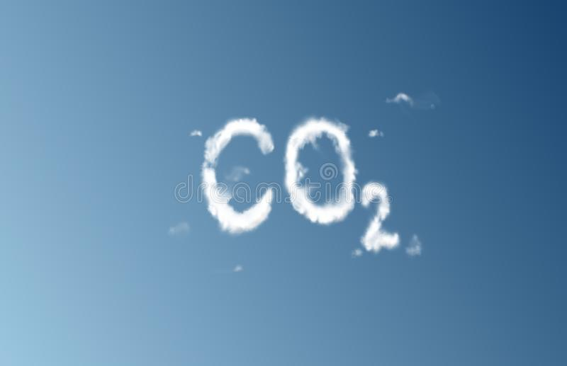 CO2 cloud. Sky writing in the form of CO2 stock images