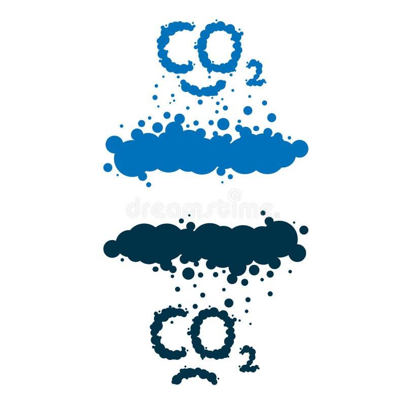 Co2 dat als rook wordt geschreven betrekt royalty-vrije illustratie