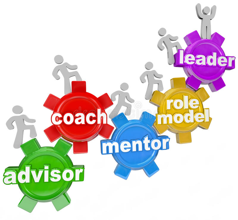 Coach Advisor Mentor Leading You to Achieve Goals. People marching on gears with the words Advisor, Coach, Mentor, Role Model and Leader to symbolize learning royalty free illustration