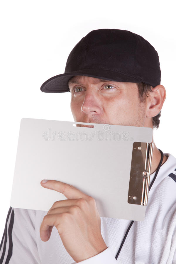 Download Coach behind clipboard stock photo. Image of education - 16058292