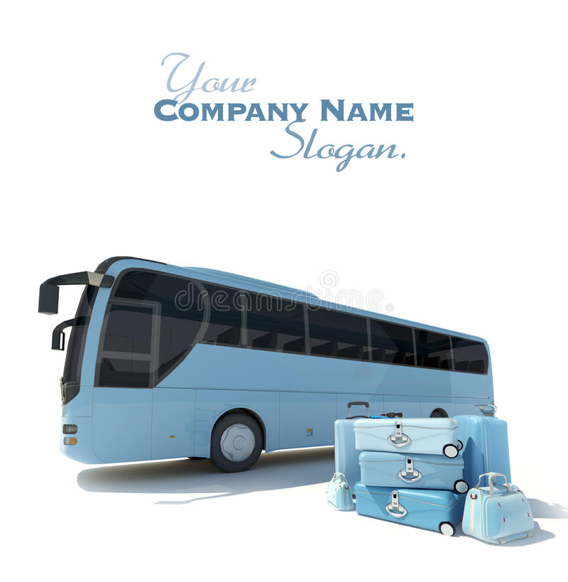 Coach bus and luggage stock illustration
