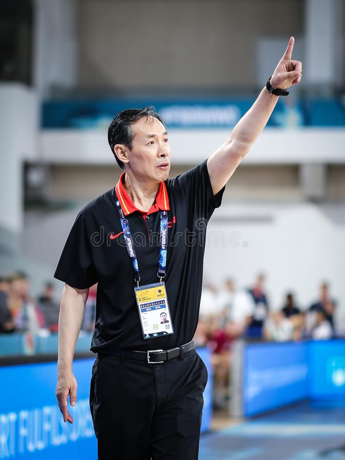 Coach of chinese national team during basketball match LATVIA vs CHINA. royalty free stock image
