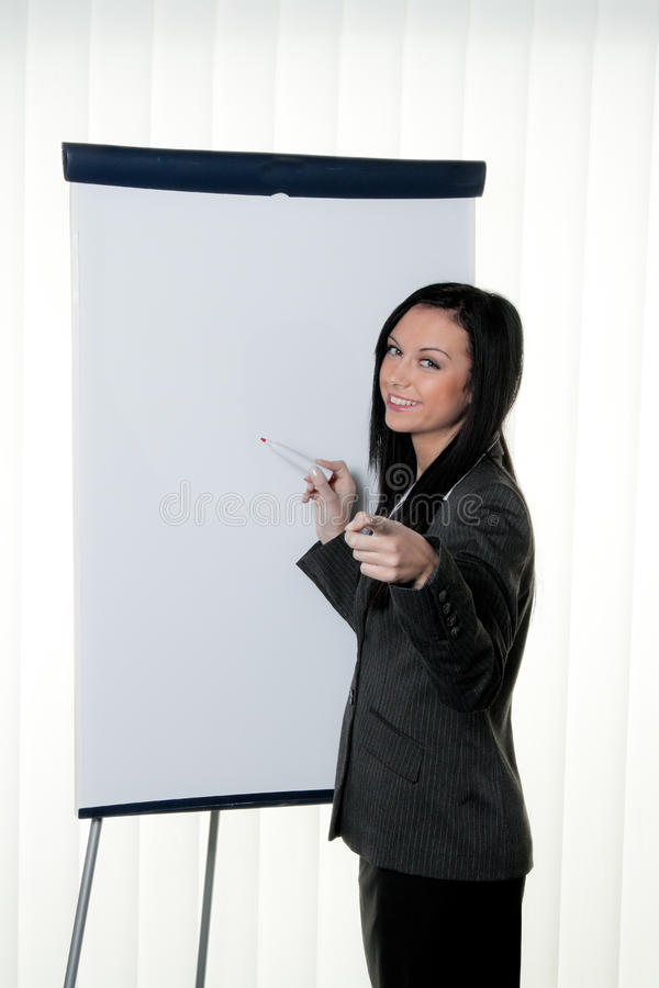 Coach Before Empty Flipchart Stock Image