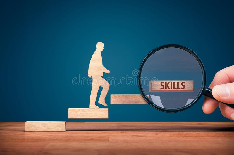 Coach focused on motivation to skills improvement. Hand with loupe and person made from wood and wooden stairs, the last with text skills stock illustration